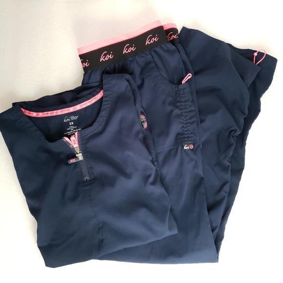 Koi Lite Blue Pink Accent Slim Fit Scrub Set